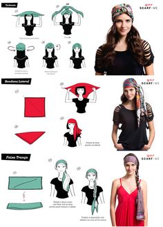 head scarf tutorial tutorial para usar lenco na cabeca - The world's most private search engine Hair Scarf Styles, Curly Hair Styles, Hair Styles With Bandanas, Head Scarf Tutorial, Turban Tutorial, Gypsy Costume, Gypsie Costume Diy, Bandana Hairstyles, Pirate Hairstyles
