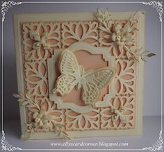 Elly's Card- Corner: Damask Motifs.  Beautiful pink and white butterfly card.