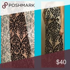 Damask Maxi Dress Silky soft material. No flaws. Hugs your body. Very comfortable. Black and Tan colors. Very flattering. Dresses Maxi