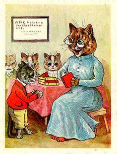 Cats at School - by Louis Wain