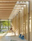 Carlsson used the same materials and timber sizes indoors and out to maintain a unified character throughout the pavilion.  Photo by: James Silverman