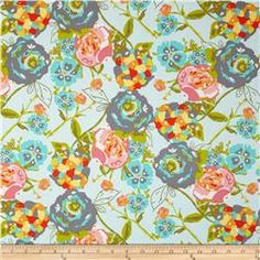 Art Gallery Lilly Belle Garden Rocket Turquoise-Fabric.com