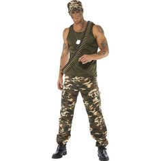 Army soldier costume front at fancy dress and party Army Men Costume, Soldier Costume, Fancy Dress Outfits, Casual Outfits, Khaki Vest, Army Party, Summer School Outfits, Army Soldier, Pants Pattern