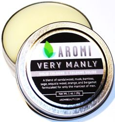 Aromi - Very Manly Solid Cologne, $14.00 (http://www.aromibeauty.com/very-manly-solid-cologne-1/) This manly scent is a blend of sandalwood, musk, bamboo, sequoia wood, orange, vetiver and bergamot formulated for only the manliest of men.  Aromi solid colognes make a great stocking stuffer or a unique, manly chirstmas/holiday gift.