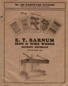 "original c. 1929 e. t. barnum iron and wire works softbound "" no. 750 hardware catalog"" featuring iron fencing, window guards, fire escapes, and other iron ornament"