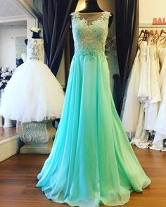 Mint Green Chiffon Illusion Prom Dress, Sheer Back A-line Prom Dress , Formal Gown With Lace Appliques