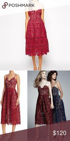 NWT AQUA | Lace Midi Dress Description coming soon. This is for the burgundy color. Aqua Dresses Midi
