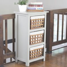 Build this simple Basket Storage Cabinet with easy plans and step-by-step images!