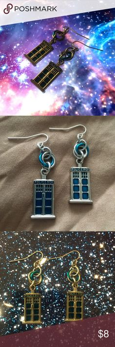 ✨🌌 Doctor Who TARDIS Earrings 🌌✨ Calling all Whovians! These earrings are perfect for you! Only have been worn once and are in perfect condition! Show some love for your favorite Time Lord and add these FANTASTIC earrings to your jewelry collection today! Allons-y! Jewelry Earrings
