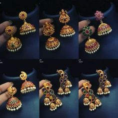 All popular jumkis in one pic.To place order WhatsApp . Gold Jhumka Earrings, Indian Jewelry Earrings, Real Gold Jewelry, Gold Jewelry Simple, Jewelry Design Earrings, Gold Earrings Designs, Gold Jewellery Design, Antique Earrings, Jhumka Designs