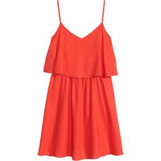 H&M Sleeveless Dress $9.99 (€8,92) ❤ liked on Polyvore featuring dresses, h&m, tops, skater skirt, red ruffle dress, red circle skirt, short dresses and flared skirt