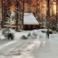 Beautiful: Cabin in the snow ~ With a roaring fire.....that would be my dream, unless it snowed 10 feet like some places in northeast USA in January & February 2015 !