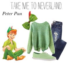 """""""Peter Pan"""" by jakebake ❤ liked on Polyvore featuring Keds, Disney, disney, peterpan, disneybound and neverland"""