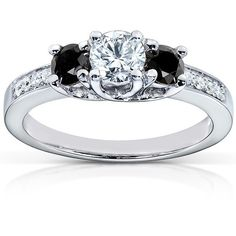 Black and White Diamond Engagement Ring 3/4 Carat (ctw) in 14k White... ($870) ❤ liked on Polyvore featuring jewelry, rings, diamond rings, white gold engagement rings, black and white engagement rings, three stone engagement ring and black and white diamond rings