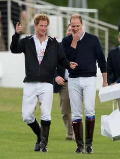 Prince William, Duke of Cambridge and Prince Harry attend day two of the Audi Polo Challenge at Coworth Park on May 31, 2015 in London, England.