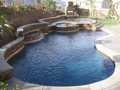 Swimming Pool:Graceful Small Backyard Pool Ideas With Stone Edging Also Round Jacuzzi Space Plus Concrete Paving Floor Interesting Small Pool Ideas in Backyard Small Swimming Pools, Small Backyard Pools, Backyard Pool Landscaping, Backyard Pool Designs, Small Pools, Swimming Pools Backyard, Swimming Pool Designs, Outdoor Pool, Small Backyards