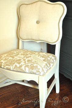 Modernizing an old cane-back chair with tufting and new upholstery