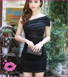 Free shipping :) 2013 fashion sexy cute Korean star girl casual nightclub one-shoulder mini dress :) Cheap soft cotton dresses ! $8.88