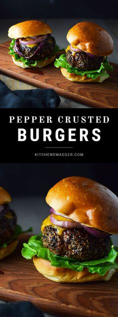Simple pepper crusted blue cheese burgers made with grass-fed beef, grilled onions, lettuce, cheddar cheese, and chipotle mayonnaise. Sponsored by PRE Brands.