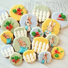 Peter Rabbit cookies for a baby shower   from killerzebras.com