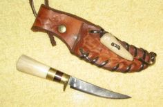 Neck Knife made by Ken Richardson CUSTOM MADE IN USA Deer Antler and Brass with Sheath ! This is my personal cowboy neck worn Black Powder patch knife.