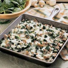Spinach Skillet Bake Recipe - with ground beef & mushrooms. Sounds pretty good to me.