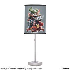 Avengers Attack Graphic Table Lamp Marvel Cartoons, Base Trim, Table Lamp Shades, Incandescent Light Bulb, Pull Chain, Trim Color, Rice Paper, Artwork Design, Diy For Kids