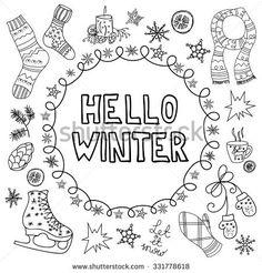 Znalezione obrazy dla zapytania doodle frame winter