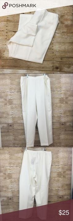 "Alfred dunner ivory white pants These are new never got around to wearing them, they have pockets and the back waistband is elastic - inseam :30"" the elastic is easily hidden with your top so they don't look too mature , soft white/ivory color Offers are always welcome in my closet, remember to utilize the bundle feature on posh for 2 or more items in my closet and receive 15% off Alfred Dunner Pants"