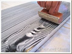 Using your wood training tool with white glaze for a really cool white washed look.