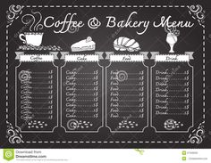 Coffee And Bakery Menu On Chalkboard Template - Download From Over 60 Million High Quality Stock Photos, Images, Vectors. Sign up for FREE today. Image: 57346505