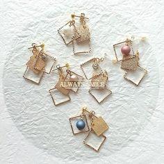 再販!キャッチも可愛いスクエア枠ピアス・イヤリング Wire Jewelry, Jewellery, Handmade Accessories, Designer Earrings, Stud Earrings, Leather, Crafts, Creema, Tassel