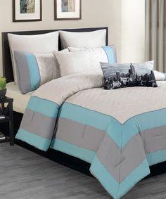 Sky Blue Toledo Overfilled Comforter Set