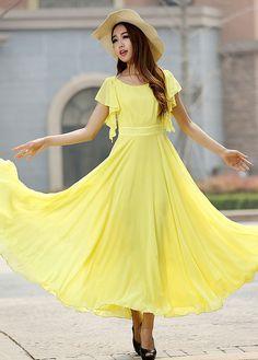 Yellow chiffon maxi wedding dress 919 by xiaolizi on Etsy Gelbes Chiffon Maxi Brautkleid 919 by xiaolizi on Etsy Yellow Wedding Dress, Grey Prom Dress, Yellow Maxi Dress, Maxi Dress Wedding, Gray Maxi, Dress Formal, Stylish Dresses, Cute Dresses, Prom Dresses
