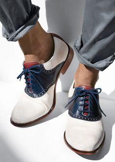 red, white, blue saddle shoe