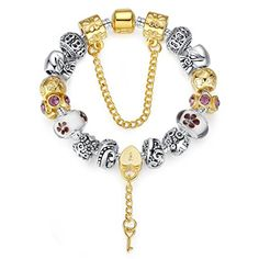 Bamoer Mothers Silver Plated Charm Bracelet with Removable Italian White Flower Murano Glass Beads for Moms Available Size 18cm20cm21cm * Details can be found by clicking on the image.