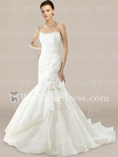 Taffeta Scoop Mermaid Wedding Dress with Bubble Skirt and Straps DE378N $245.00