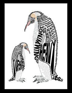 Penguin Art, Penguin Love, Cute Penguins, Creative Typography Design, Typography Images, Wort Collage, Penguin Pictures, Environmental Art, Letter Art