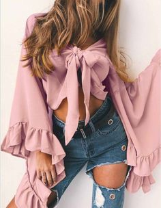 Feditch 4 Solid Color Chiffon Shirt Women Bow Crop Top Casual Sexy V Neck Flare Sleeve Fashion Women Tops Streetwear Bell Sleeve Crop Top, Bell Sleeve Blouse, Long Sleeve Tops, Bell Sleeves, Bow Crop Tops, T Shirt Crop Top, Top Streetwear, Collars For Women, Tie Styles