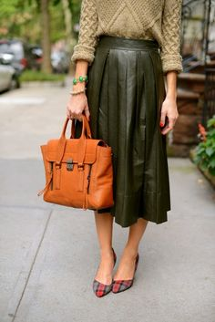 olive green pleated leather midi skirt + plaid pumps