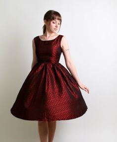 Christmas Party?     Vintage Cocktail Dress in Deep Ruby Red - 1950s 1960s Evening Fashion - Small to Medium Mad Men. $110.00, via Etsy.