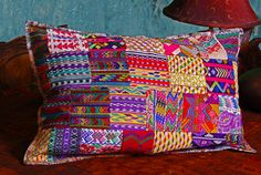 Guatemalan Handmade Fair Trade 20 x 30 Inch Mixed Huipile Bed Size Pillow Cover. Cotton. Zipper Close.