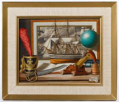 Lot 334: Charles Cerny (American, 1892-1965) Oil on Canvas; 1960, signed lower right, depicting a still life of military items; having a Wah Cheong frame maker's label en verso
