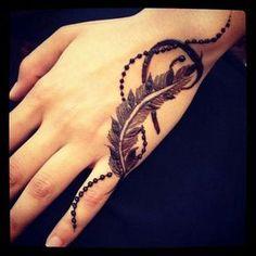 Stylish feather henna design