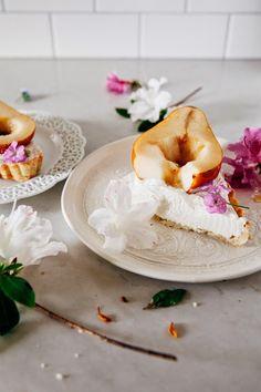 Caramel Mascarpone Tart with Brown Sugar Rubbed Pears