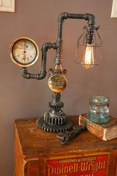 Brass Steam Gauge Meter Gear Lamp