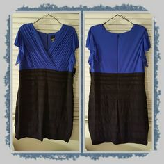 NWT Woman's Dress Size 22W NWT Beautiful Woman's Dress Size 22W In A Pretty Royal Blue & Black Color There's A Very Flattering Ruffled Pattern To The Skirt Portion Of The Dress. Excellent New Condition  POSTED ON MER©ARI INVITE CODE:  CQUAAW  Melrose  Dresses Asymmetrical