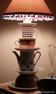Como fazer um abajur de xícaras