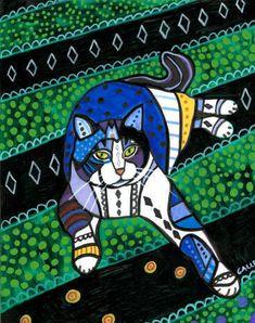 50% off-tabby Cat arte impresión del cartel de por HeatherGallerArt