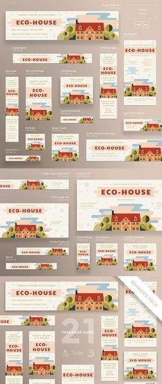 Buy Eco House Banner Pack by ambergraphics on GraphicRiver. Stand out of the crowd with a perfect banners pack. Big set of banners – 21 various forms and sizes to improve the lo. Display Advertising, Display Ads, Advertising Ideas, Advertising Campaign, Banner Template, Ad Design, Layout Design, Google Banner, Facebook Cover Design